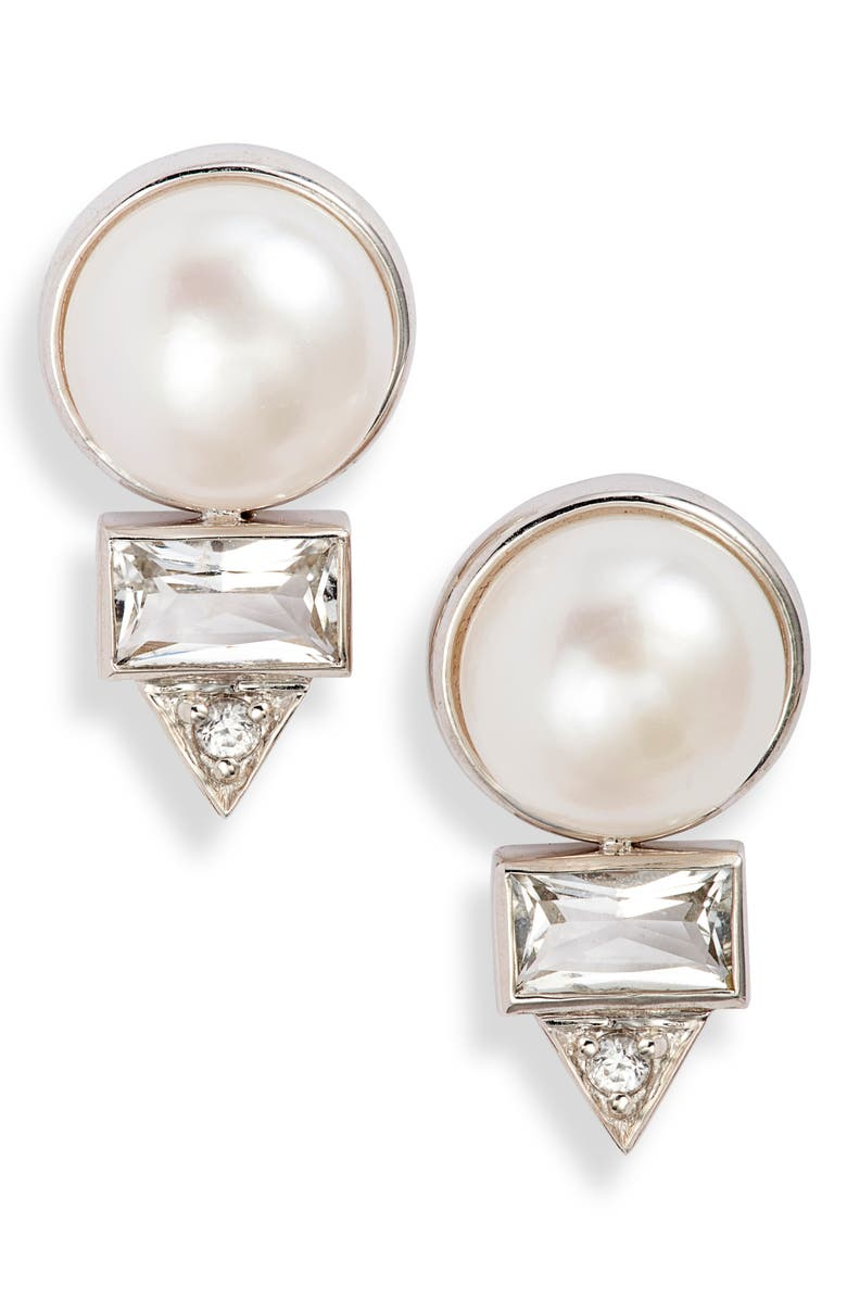 ANZIE Cleo Baguette Topaz & Pearl Stud Earrings, Main, color, PEARL/ WHITE SAPPHIRE
