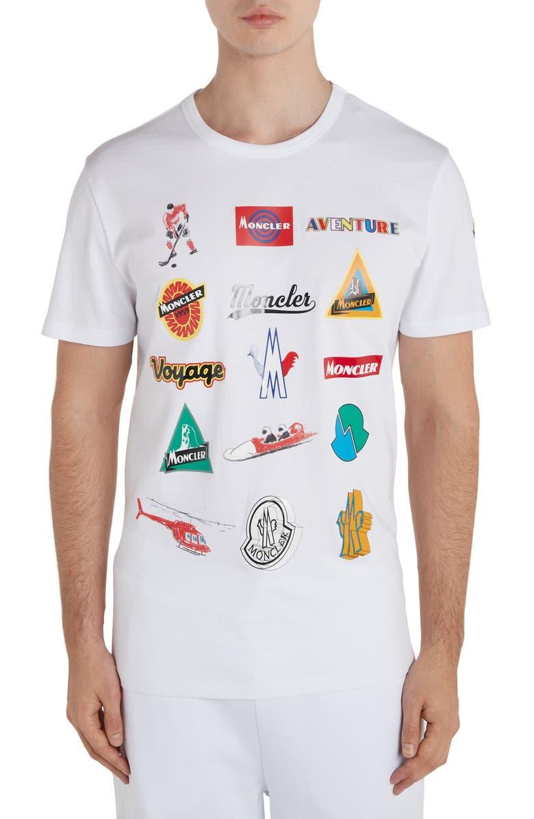 MONCLER Multi Logo T-Shirt, Main, color, WHITE
