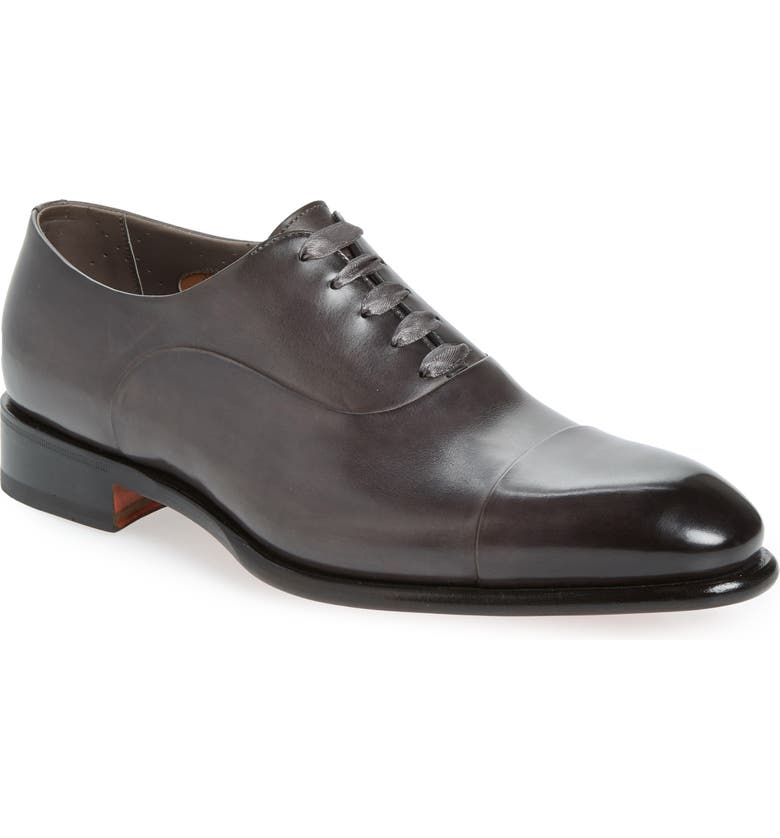 SANTONI Isaac Cap Toe Oxford, Main, color, GREY
