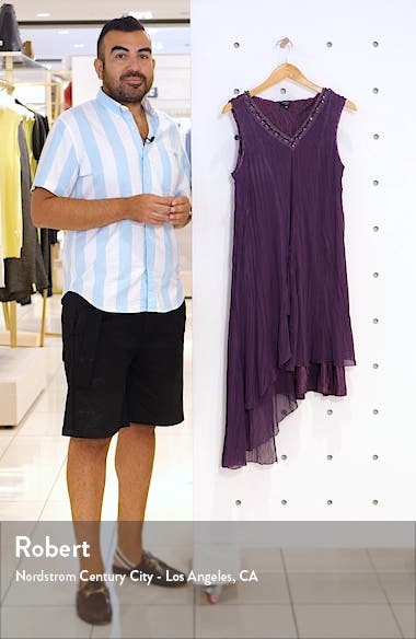 Asymmetrical Ruffle Charmeuse Dress, sales video thumbnail