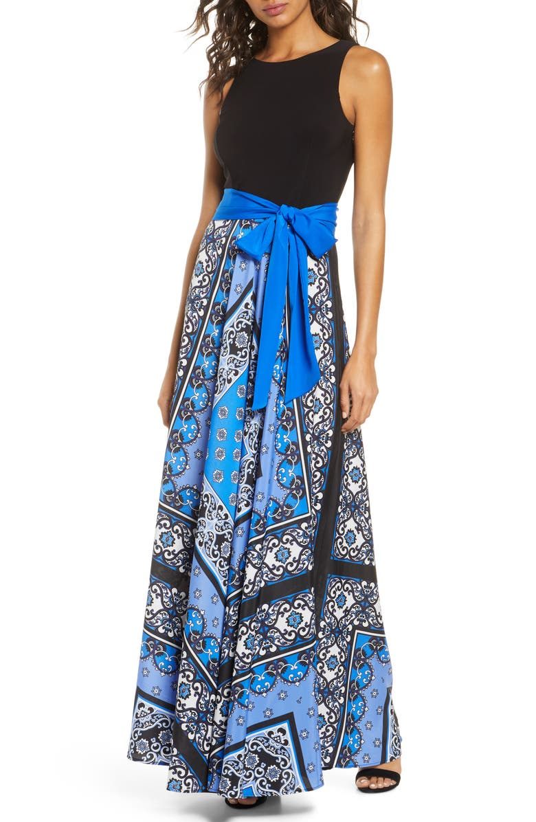 ELIZA J Scarf Print Sleeveless Maxi Dress, Main, color, COBALT