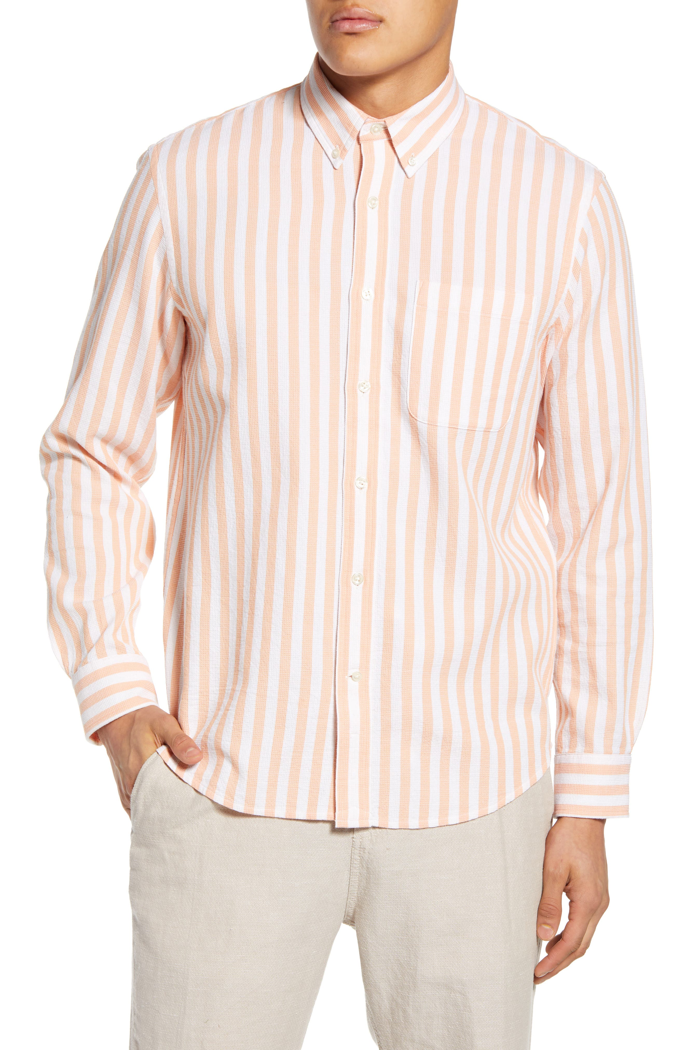 CLUB MONACO Slim Fit Waffle Stripe Button-Down Shirt at Nordstrom Rack
