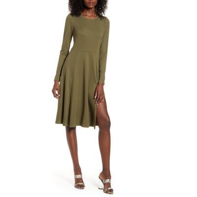 Socialite Side Slit Long Sleeve Dress, Green