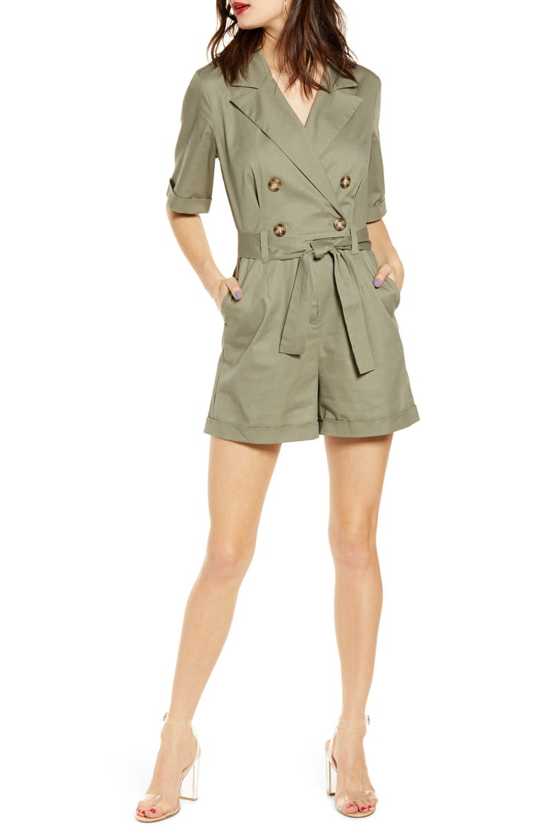 LEITH Utility Belted Romper, Main, color, GREEN VETIVER
