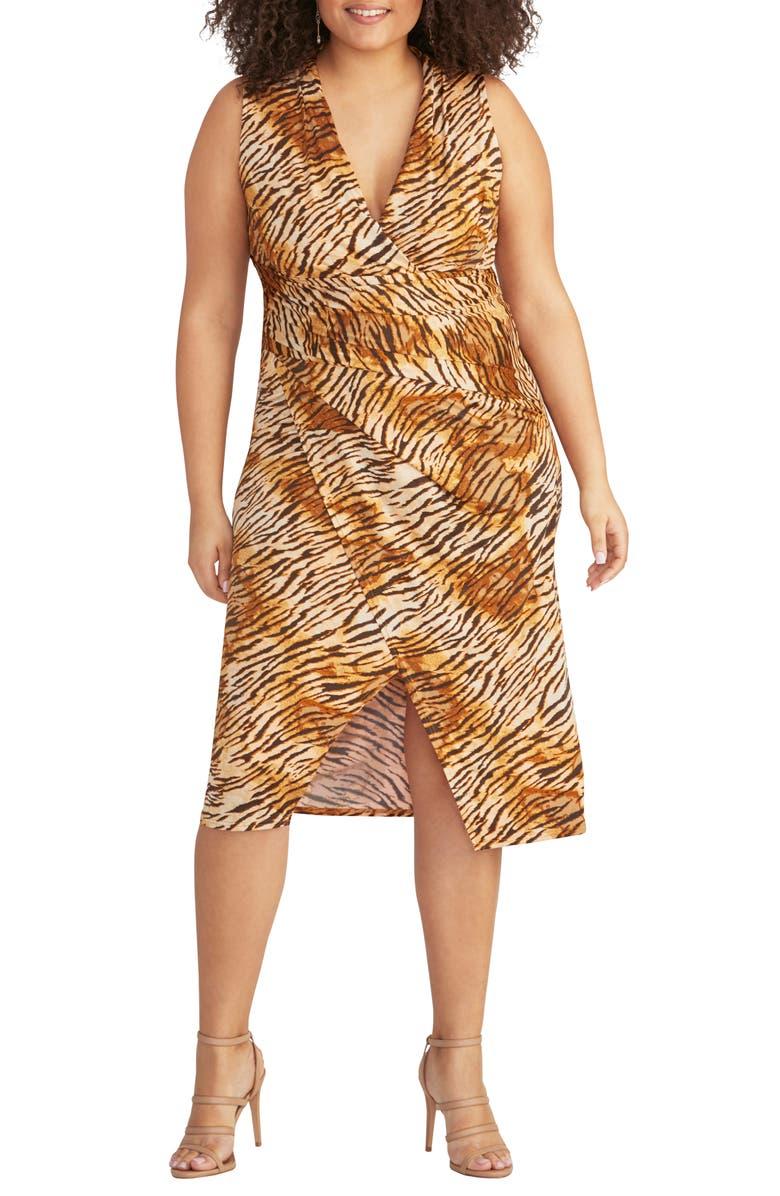 RACHEL RACHEL ROY Tiger Print Faux Wrap Jersey Dress, Main, color, 001