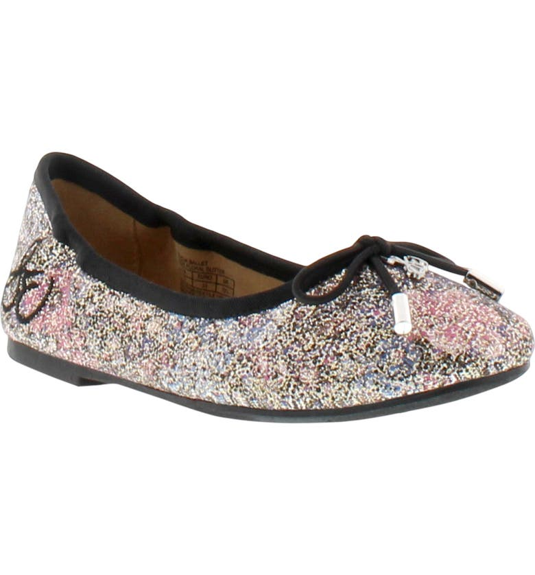 SAM EDELMAN Felicia Metallic Ballet Flat, Main, color, BLACK FLORAL GLITTER