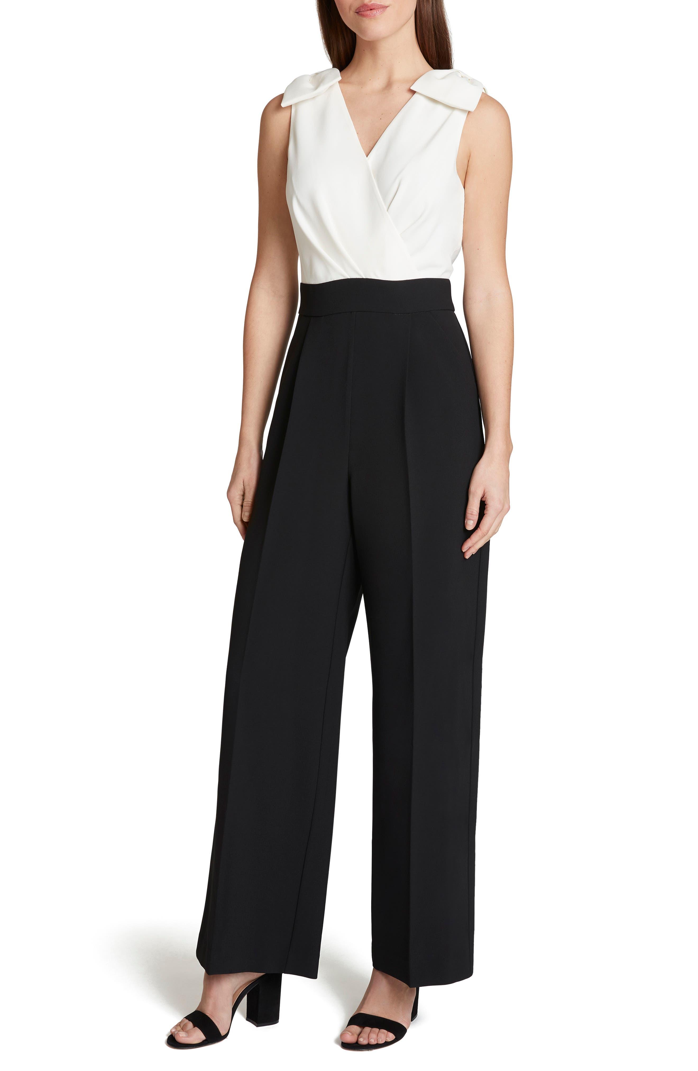 Vintage High Waisted Trousers, Sailor Pants, Jeans Womens Tahari Bow Surplice Wide Leg Jumpsuit $158.00 AT vintagedancer.com