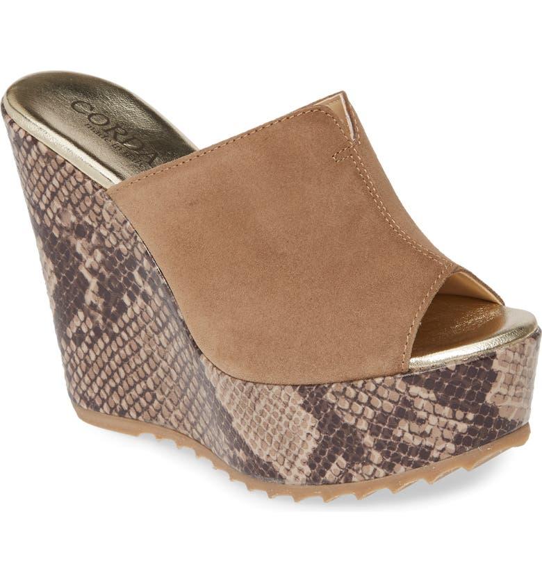 CORDANI Onyx Platform Wedge Sandal, Main, color, TAUPE/ PYTHON PRINT SUEDE