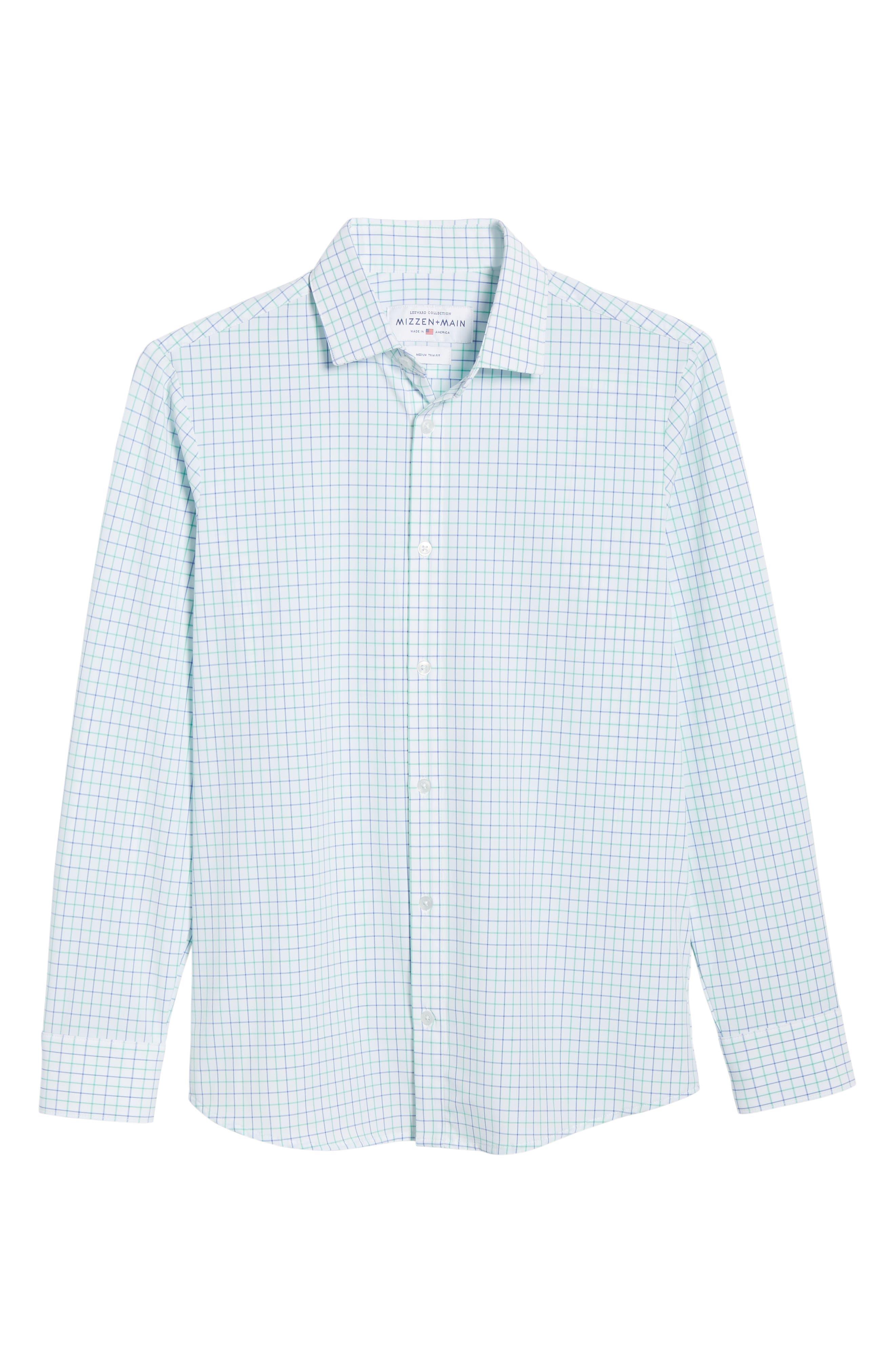 ,                             Hopkins Trim Fit Check Performance Sport Shirt,                             Alternate thumbnail 5, color,                             GREEN