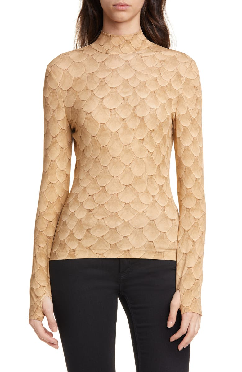 BURBERRY Fish Scale Print Jersey Top, Main, color, DARK BEIGE