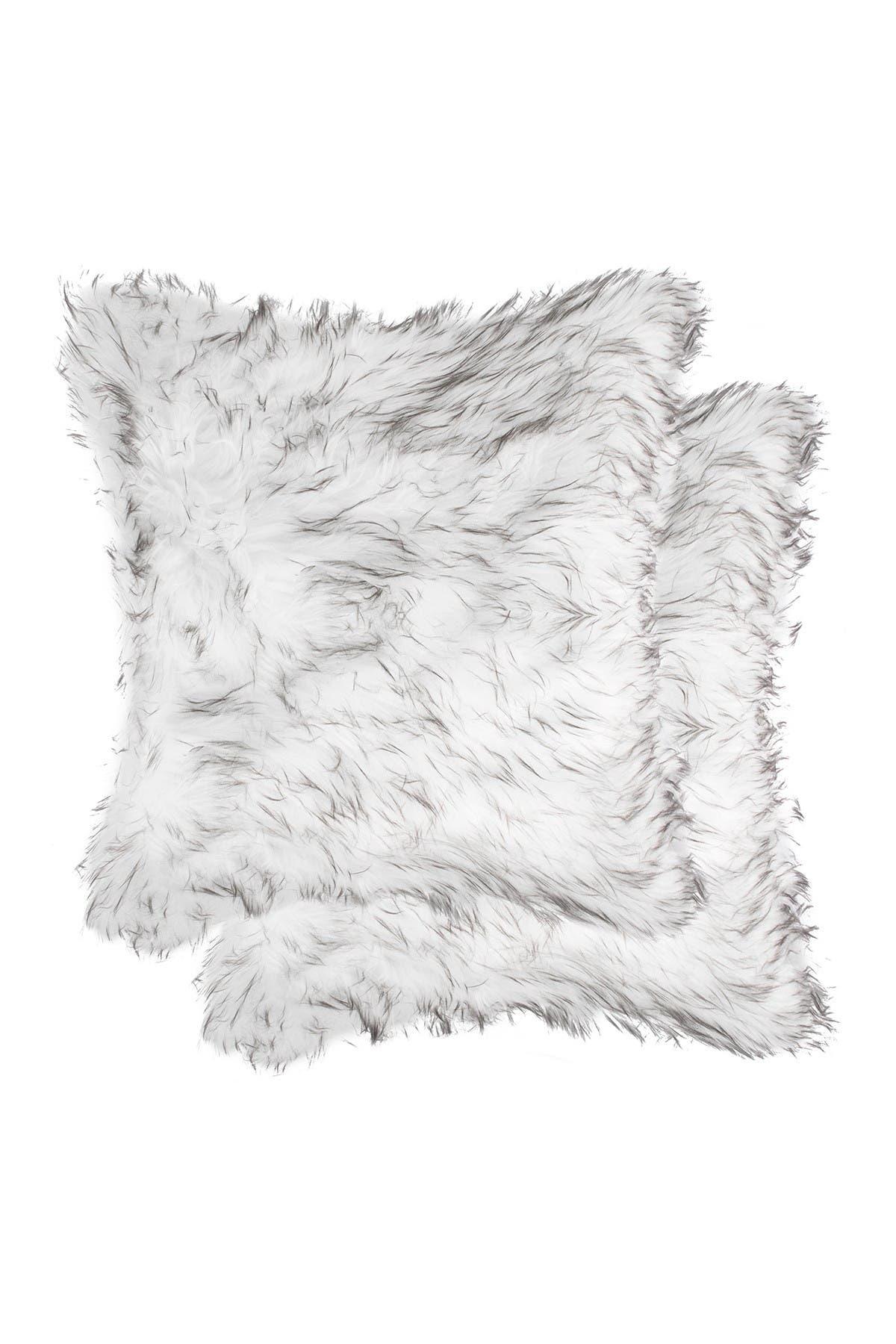 "Image of LUXE Belton Faux Fur Pillow - Set of 2 - 18"" x 18"" - Gradient Grey"