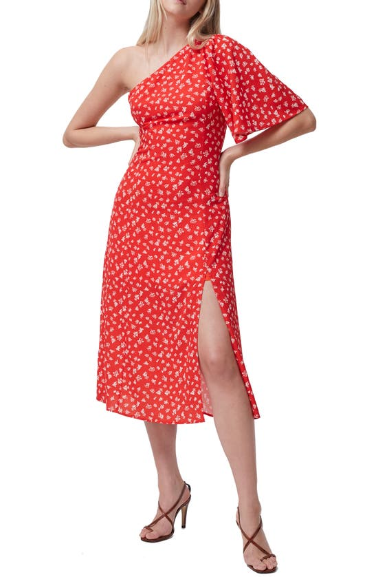 French Connection Dresses FAYLOA FLORAL PRINT ONE-SHOULDER MIDI DRESS