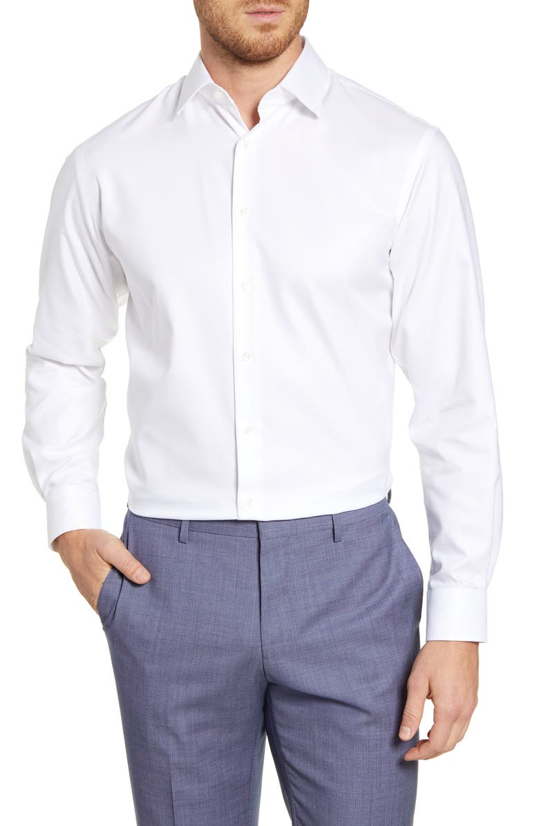 NORDSTROM MEN'S SHOP Traditional Fit Non-Iron Solid Dress Shirt, Main, color, WHITE