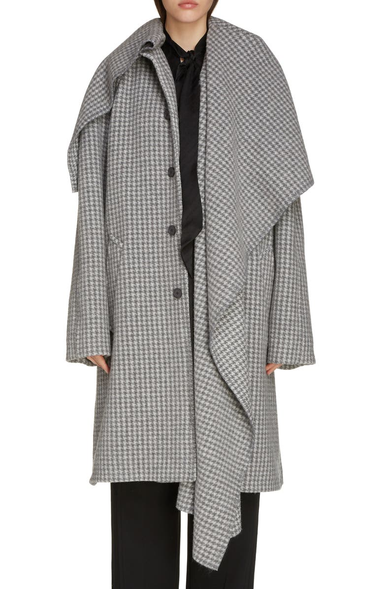 BALENCIAGA Houndstooth Wool Blend Coat with Oversize Scarf, Main, color, MEDIUM GREY