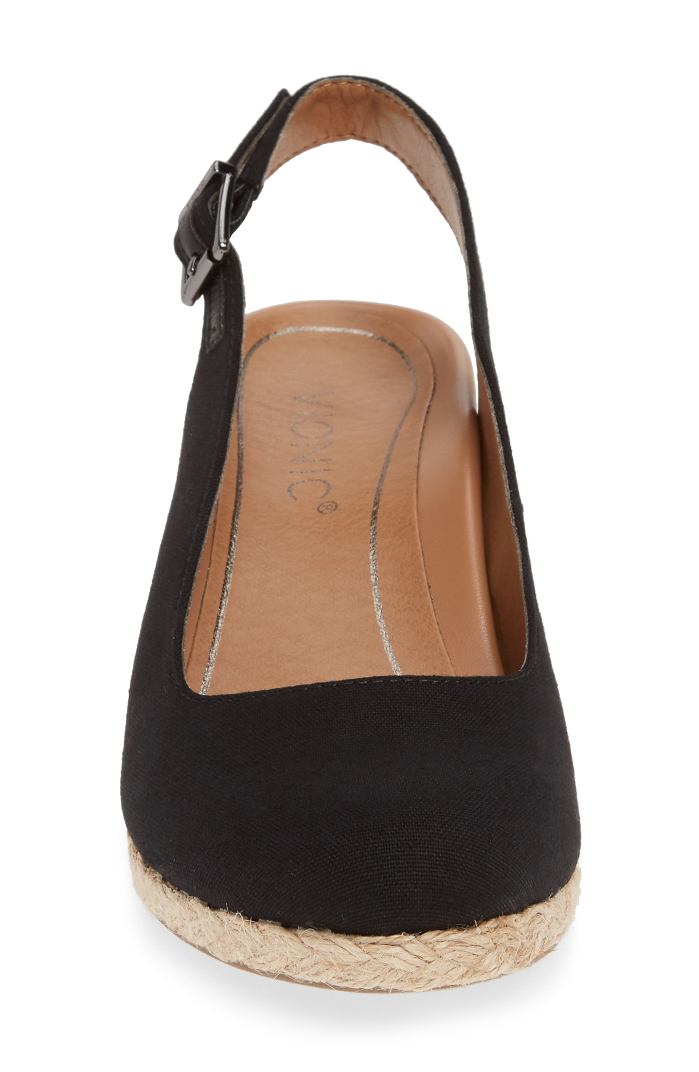 ,                             Coralina Orthaheel<sup>®</sup> Espadrille Wedge Slingback Sandal,                             Alternate thumbnail 4, color,                             BLACK CANVAS