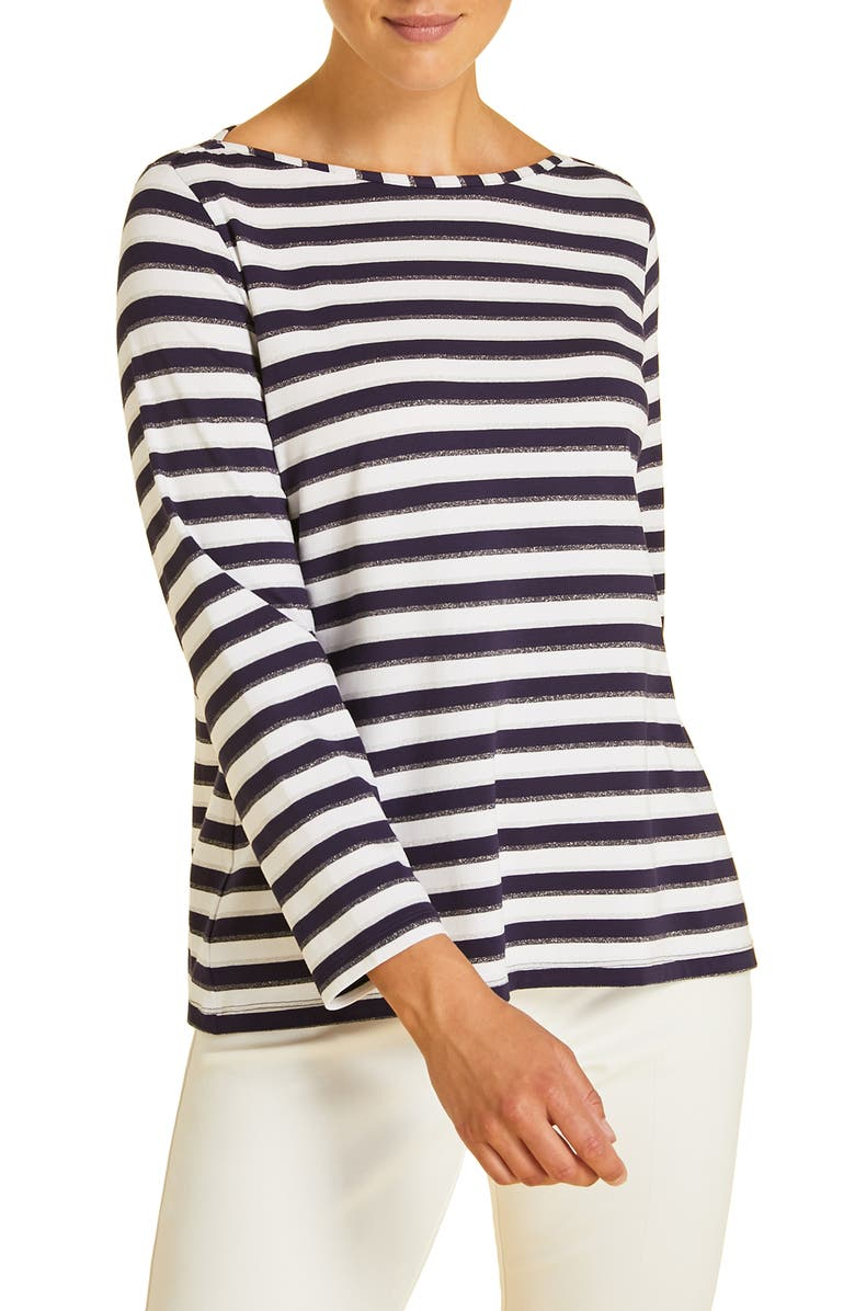 MARINA RINALDI Vago Stripe Tee, Main, color, NAVY BLUE