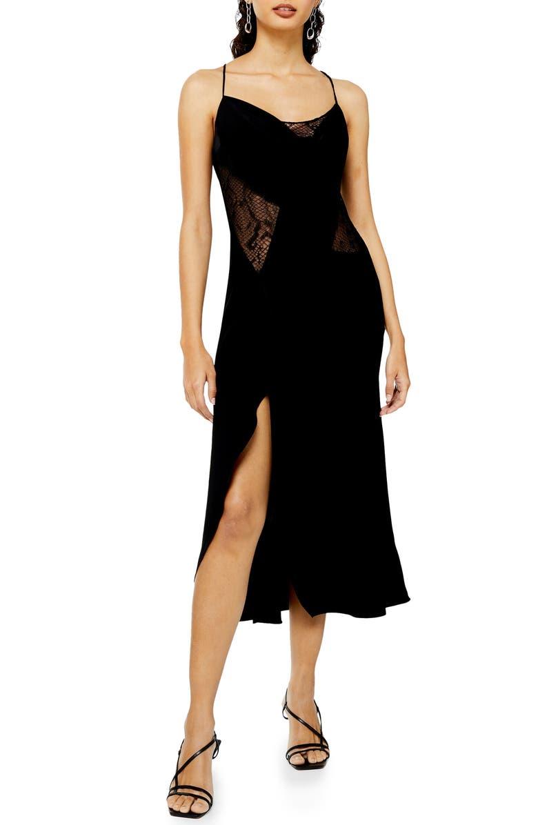 TOPSHOP Lace Panel Slipdress, Main, color, BLACK