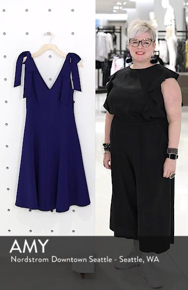 Bow Shoulder Fit & Flare Cocktail Dress, sales video thumbnail