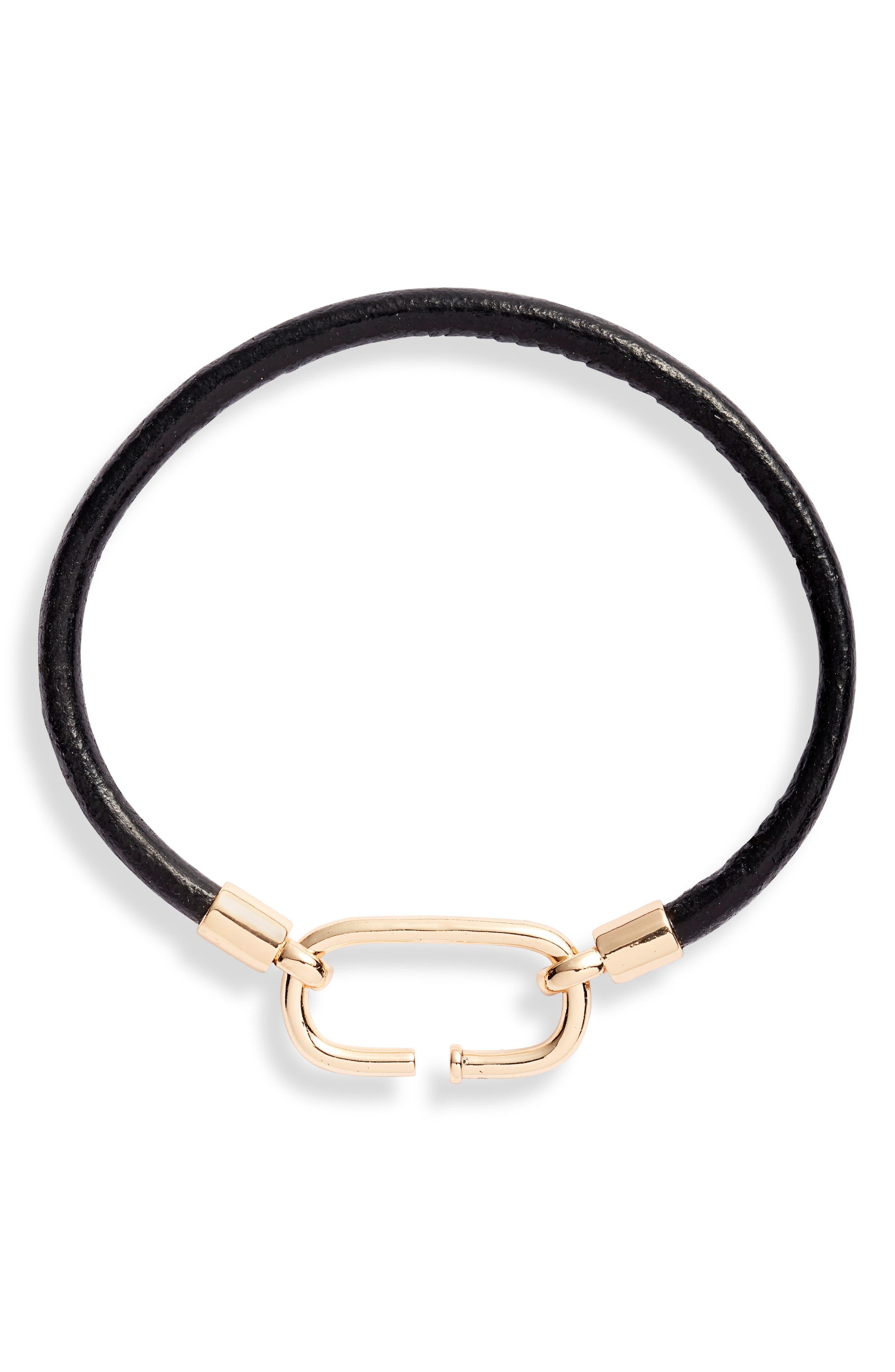 Carabiner Leather Bracelet, Main, color, BLACK