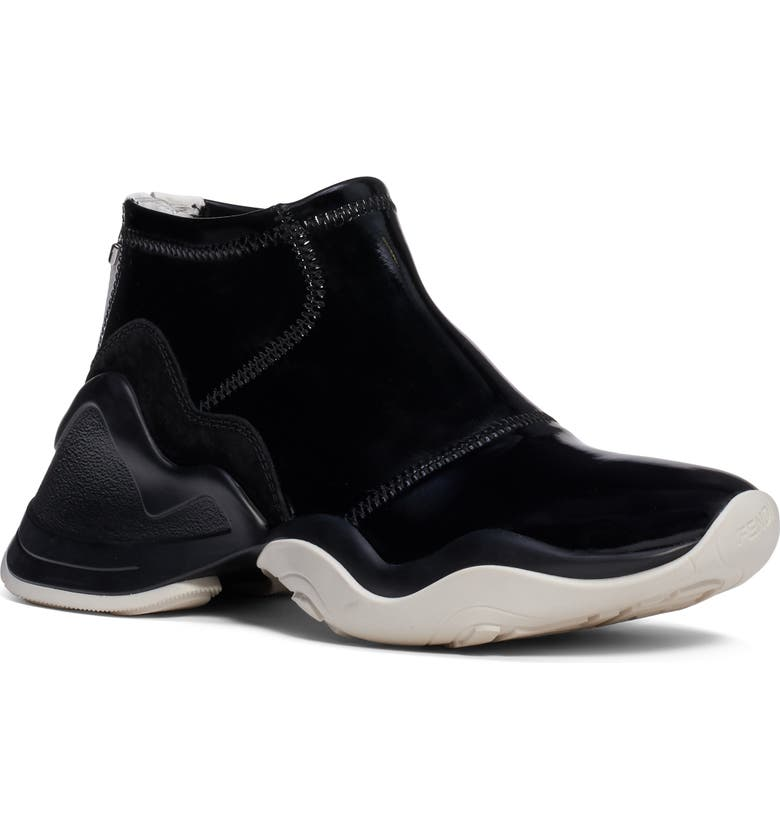 FENDI Technice Mid Top Sneaker, Main, color, BLACK PATENT