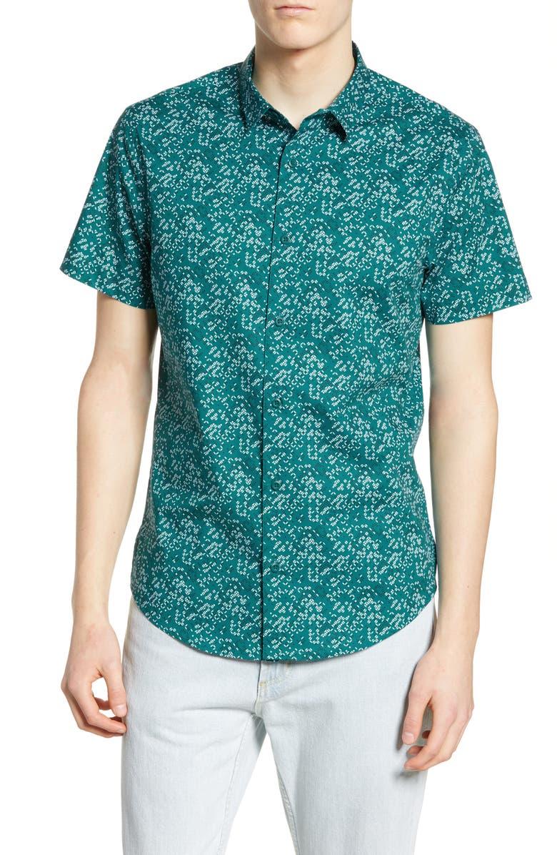 BP Print Short Sleeve Stretch Button Up Shirt