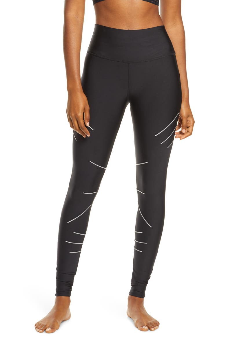 ALO Sequence Glow in the Dark High Waist Leggings, Main, color, BLACK