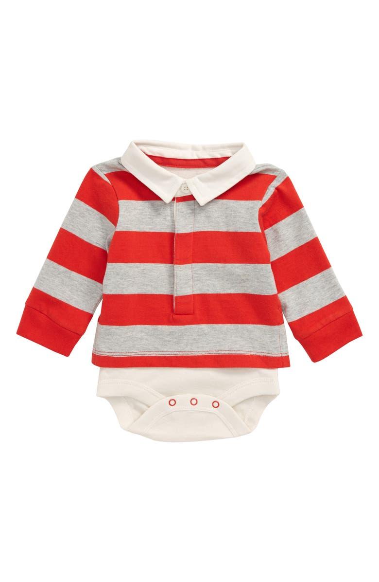 MINI BODEN Rugby Stripe Bodysuit, Main, color, RED POPPADEW/ GREY MARL