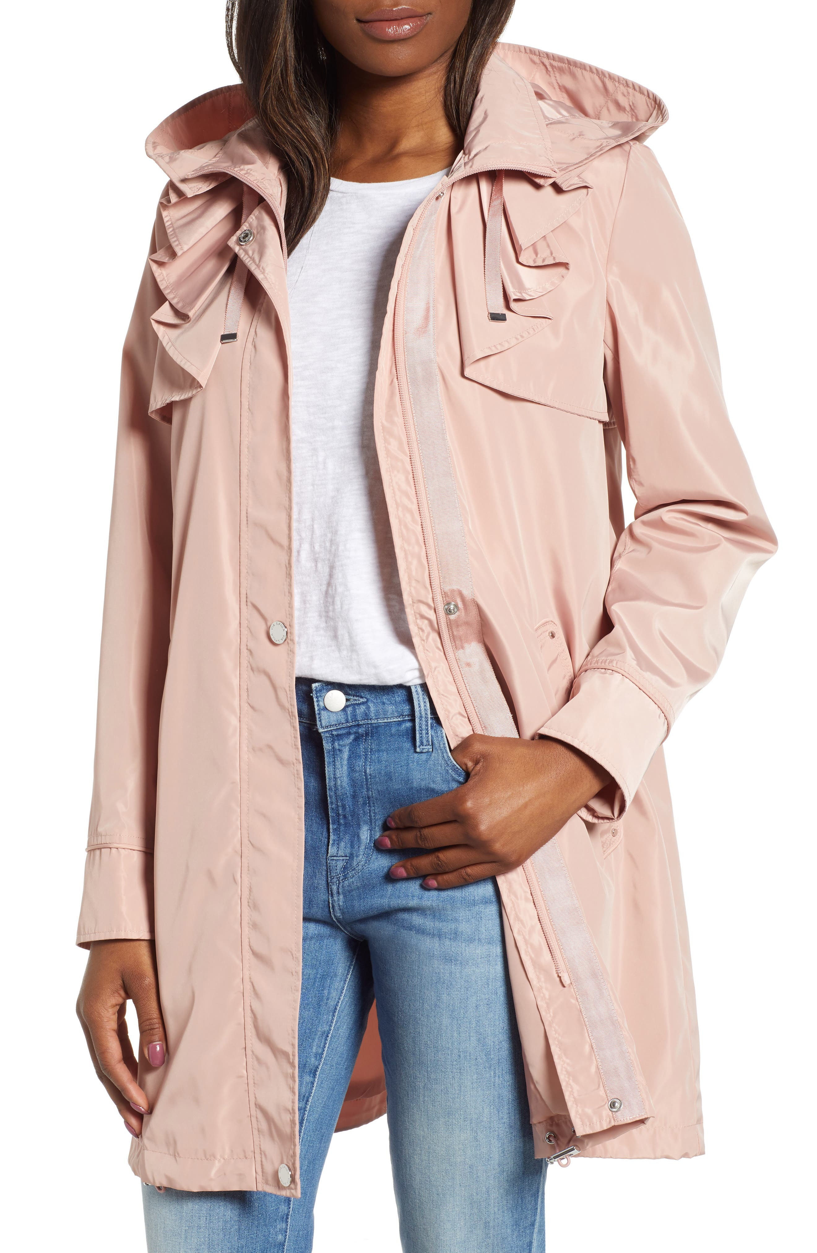 Via Spiga Ruffle Detail Packable Raincoat, Pink