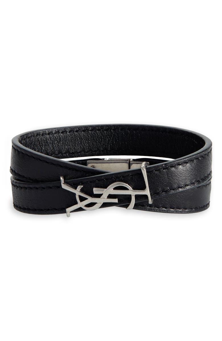 SAINT LAURENT Opyum YSL Double Wrap Bracelet, Main, color, BLACK MULTI