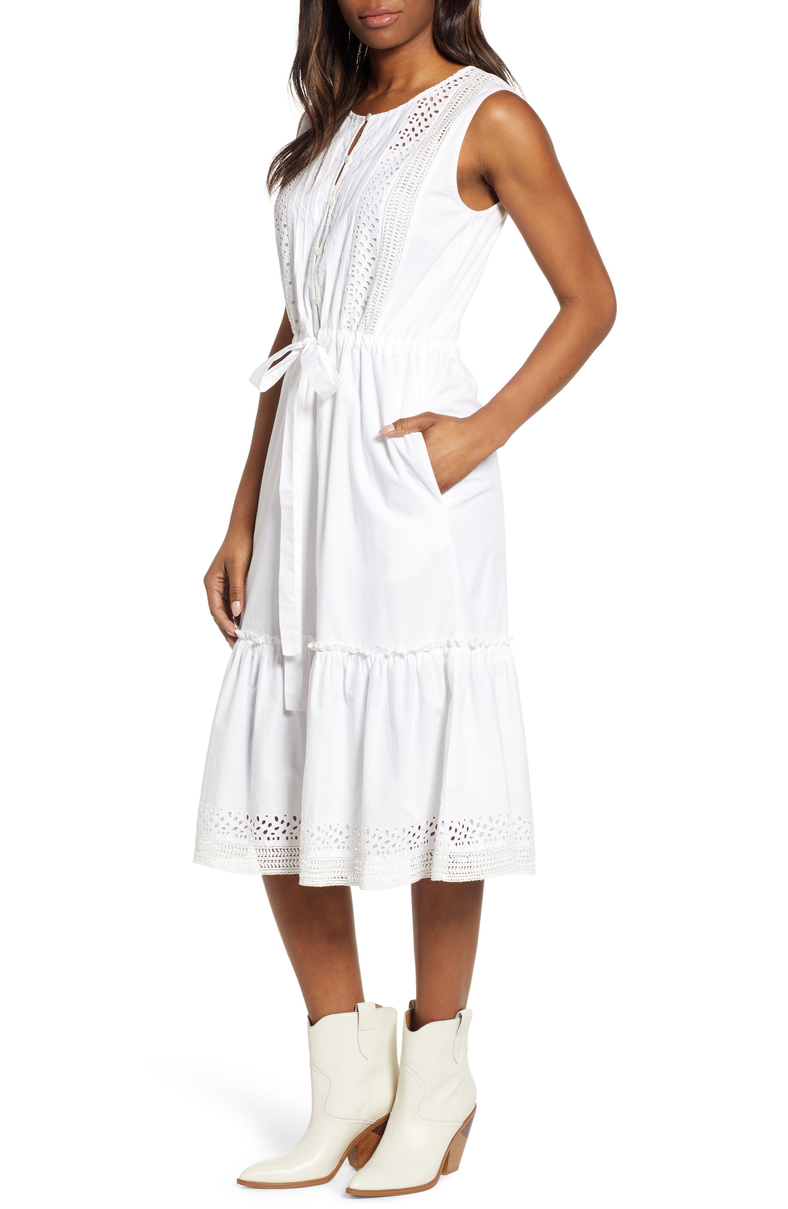 Lucky Brand Sophia Eyelet Detail Cotton Dress, White