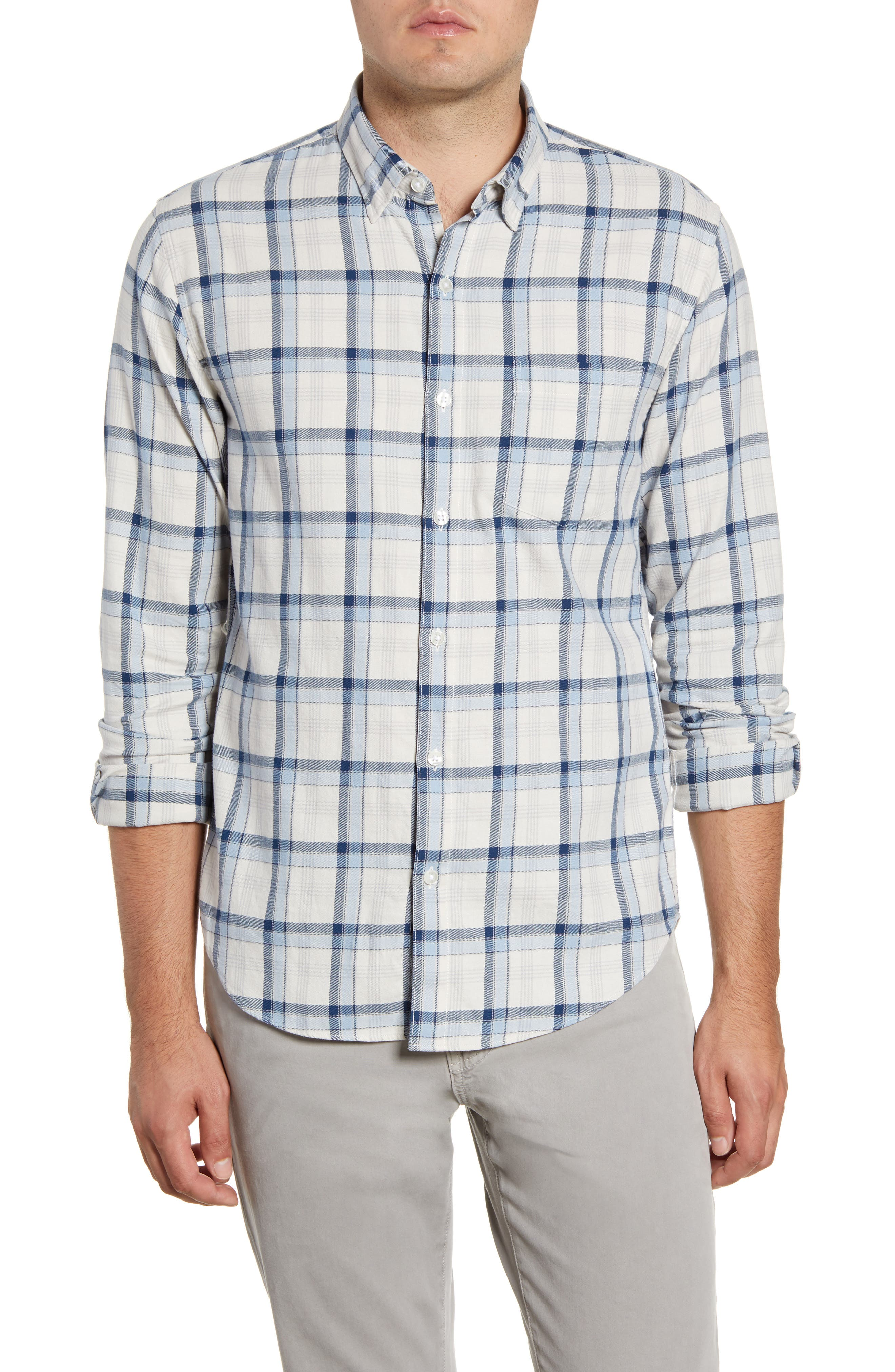 Soft color and texture comes from this brushed-cotton sport shirt patterned in a blue shadowy check. Style Name: Bonobos Slim Fit Plaid Button-Up Shirt. Style Number: 5791473. Available in stores.