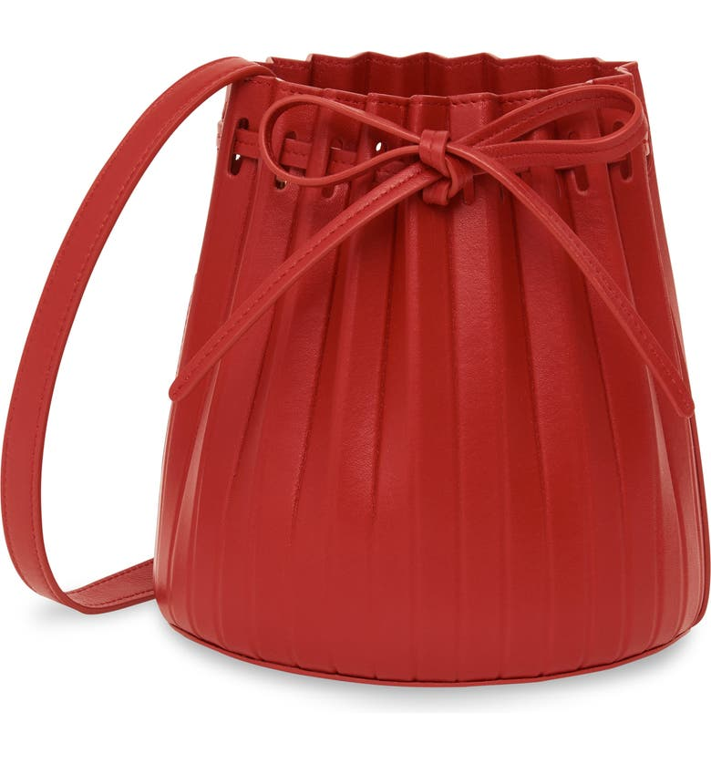 MANSUR GAVRIEL Mini Pleat Leather Bucket Bag, Main, color, FLAMMA