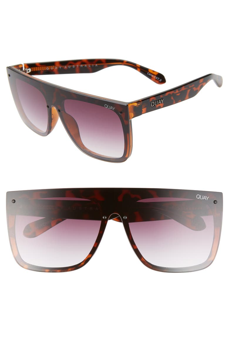 QUAY AUSTRALIA x Lizzo Jaded 146mm Flat Top Sunglasses, Main, color, TORTOISE/ PURPLE FADE