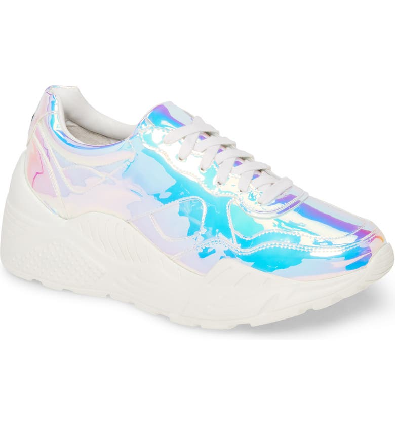 ALICE + OLIVIA Claudine Lace-Up Sneaker, Main, color, IRIDESCENT