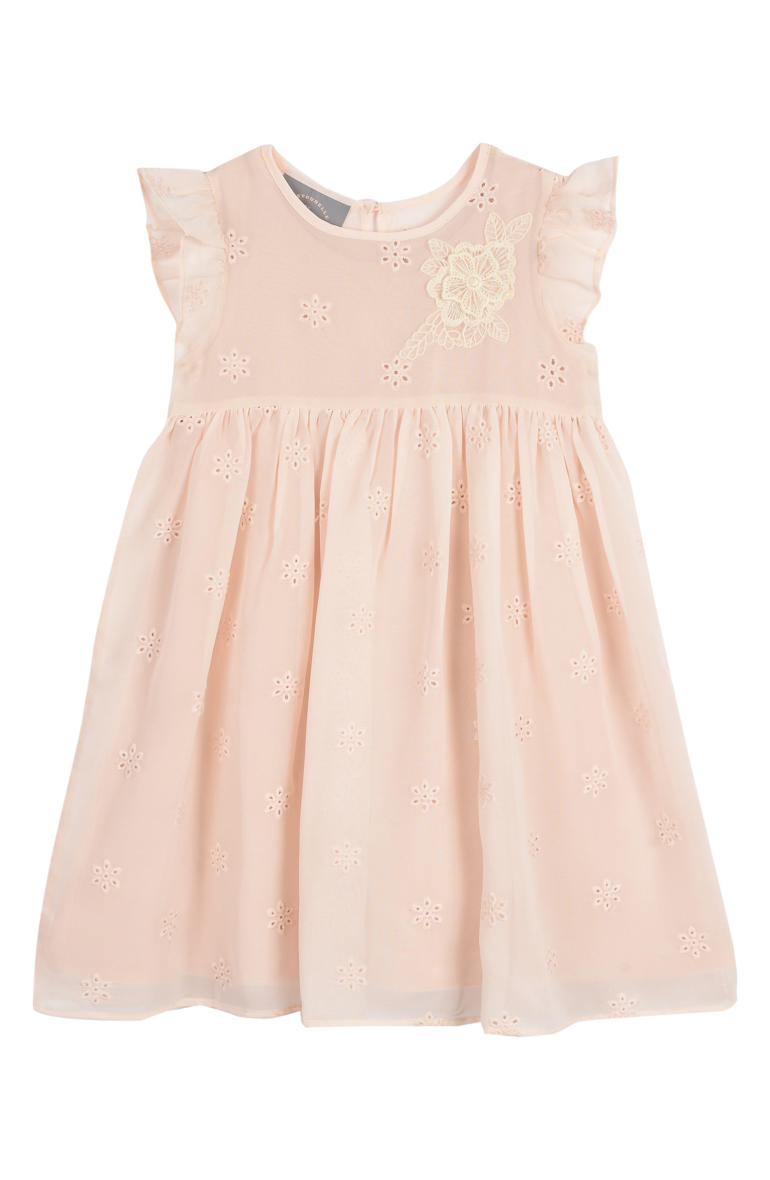Infant Girls Pippa  Julie Flutter Sleeve Eyelet Dress Size 18M  Pink