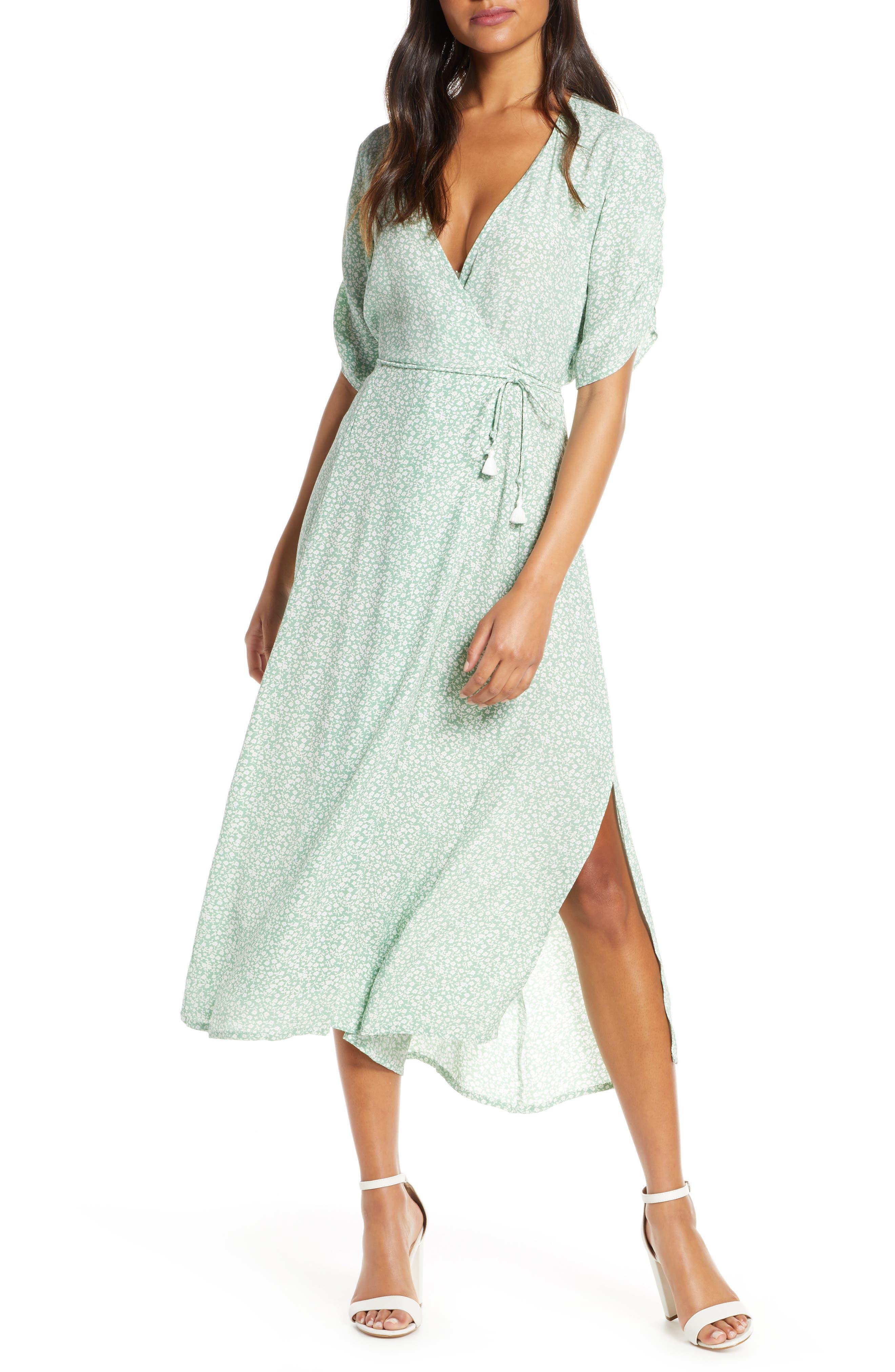 Faithfull The Brand Chiara Floral Wrap Midi Dress, Blue/green