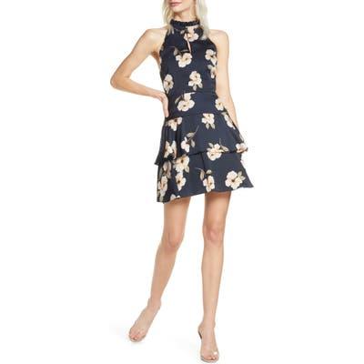 Bb Dakota Gardenia Print Sleeveless Fit & Flare Dress, Blue