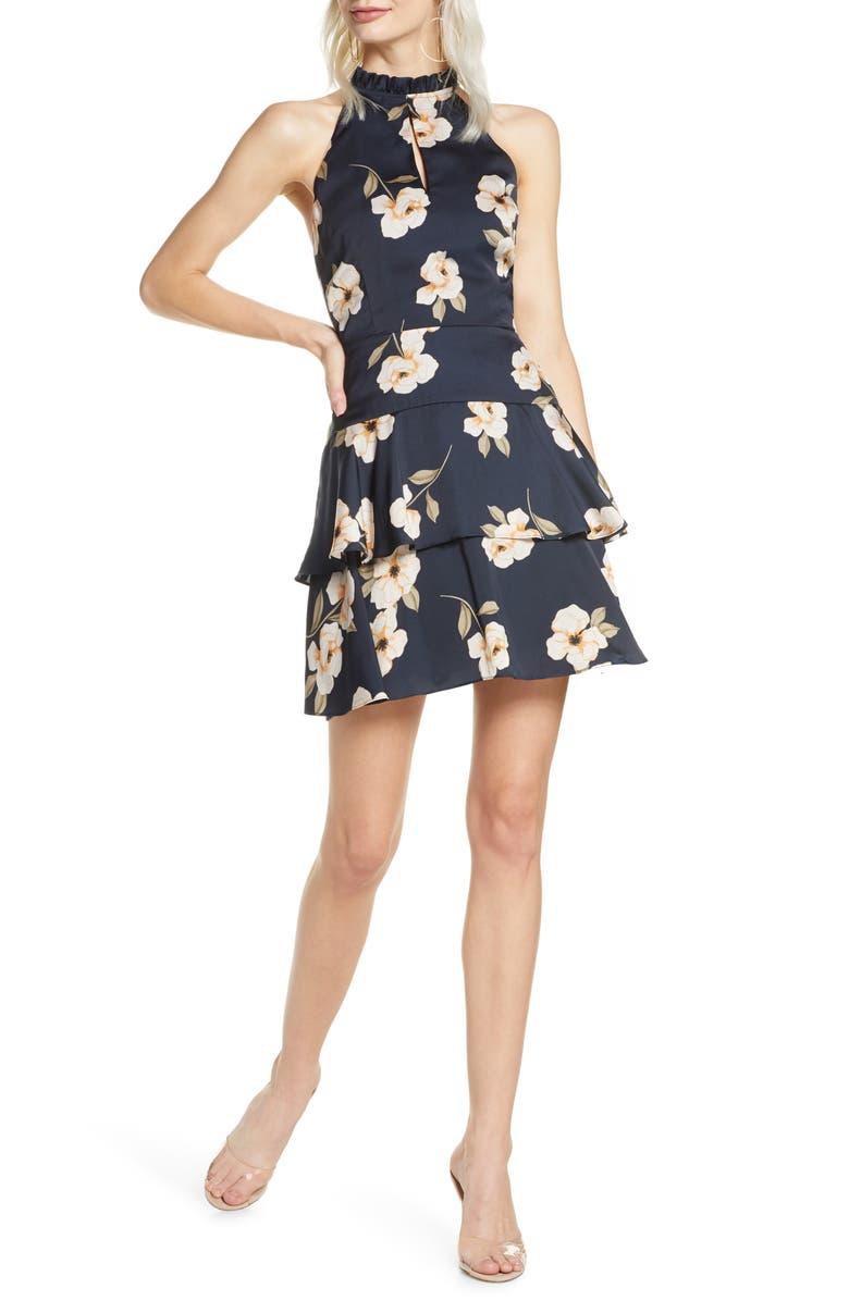 BB DAKOTA Gardenia Print Sleeveless Fit & Flare Dress, Main, color, OILSLICK