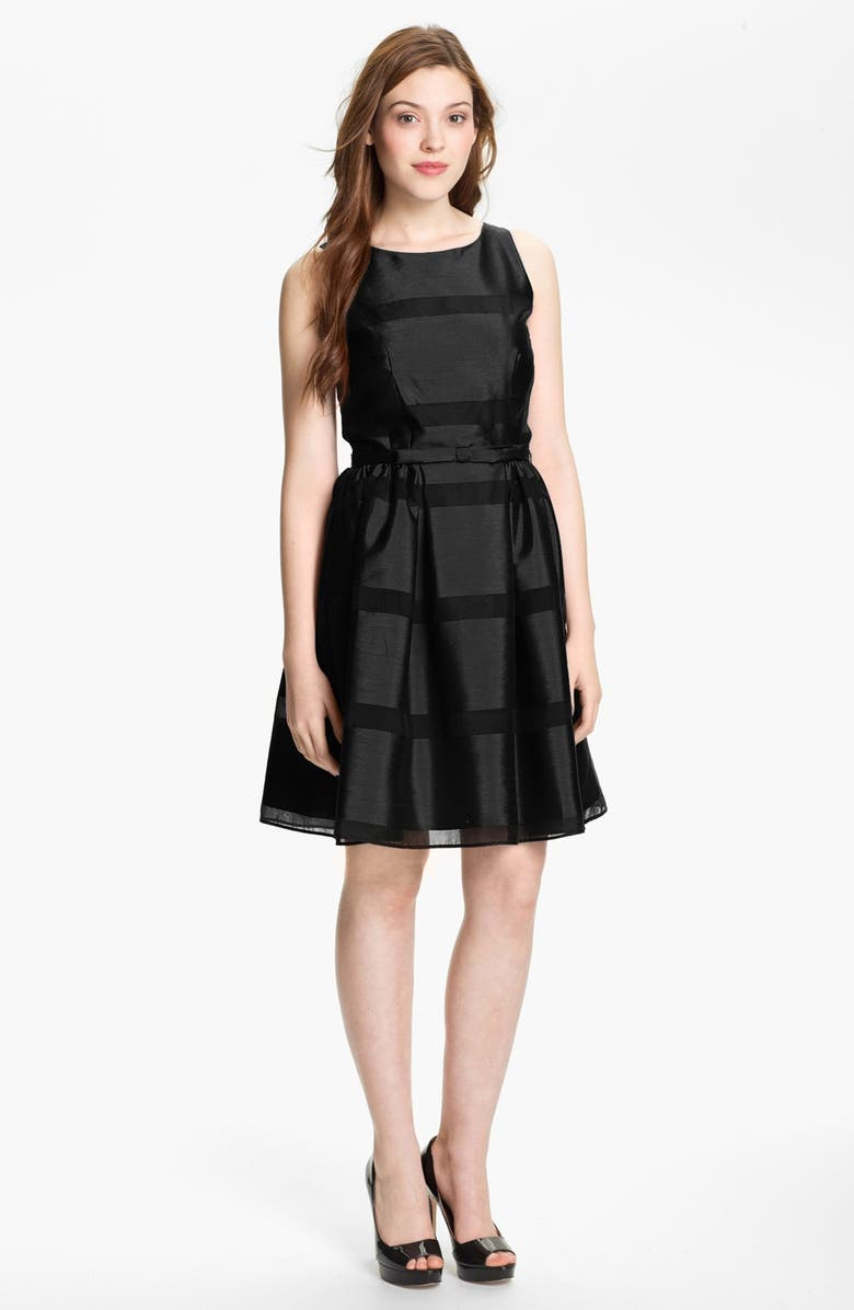 TAYLOR DRESSES Tonal Stripe Fit & Flare Dress, Main, color, 001