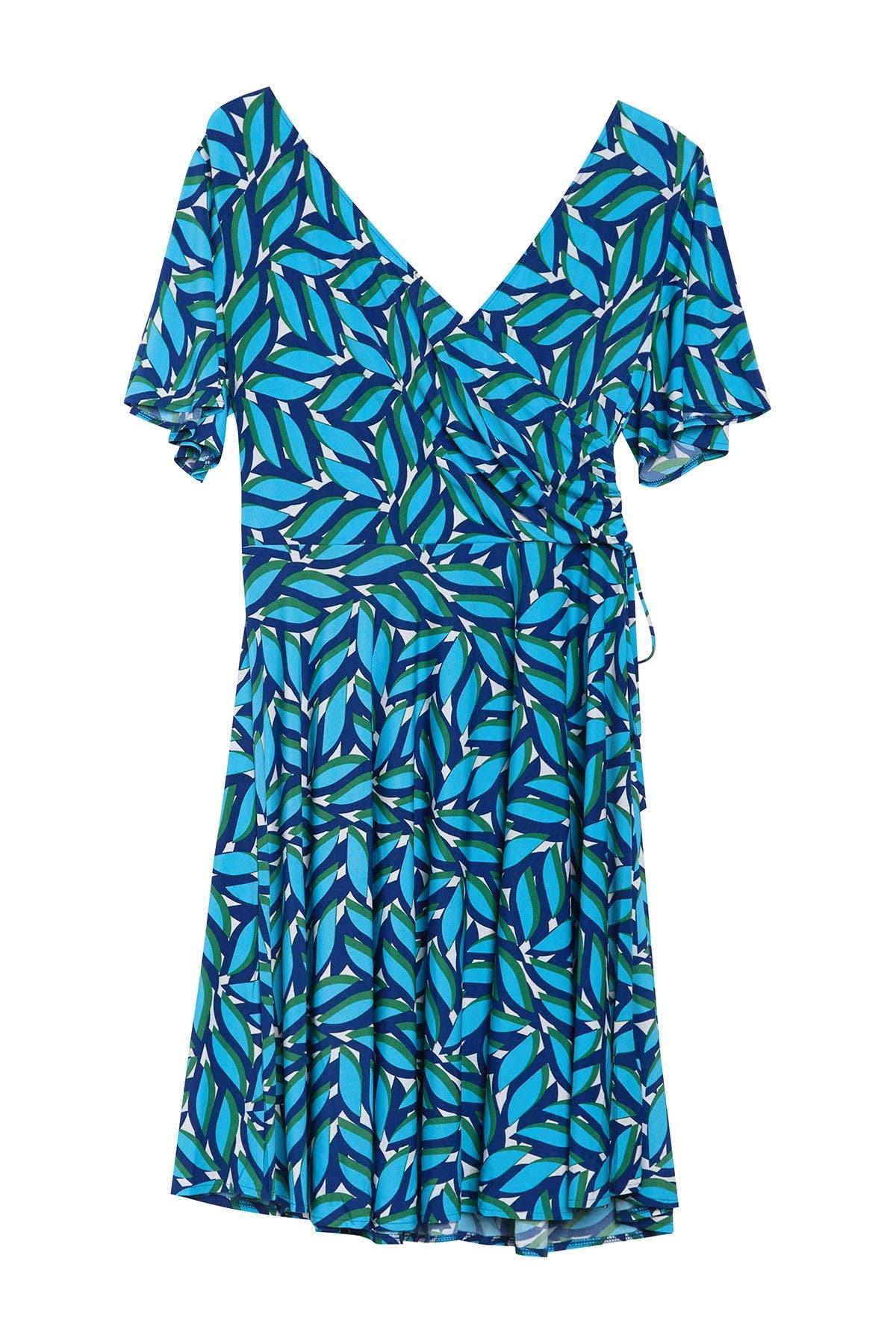 Image of Donna Morgan Flutter Sleeve Printed Wrap Dress