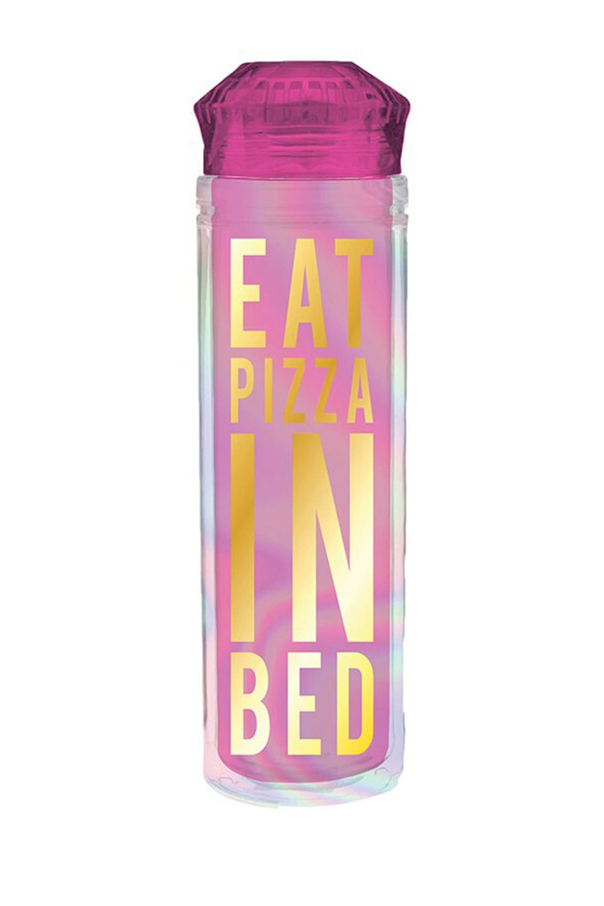 "Image of SLANT COLLECTIONS ""Eat Pizza In Bed"" Reusable Water Bottle"