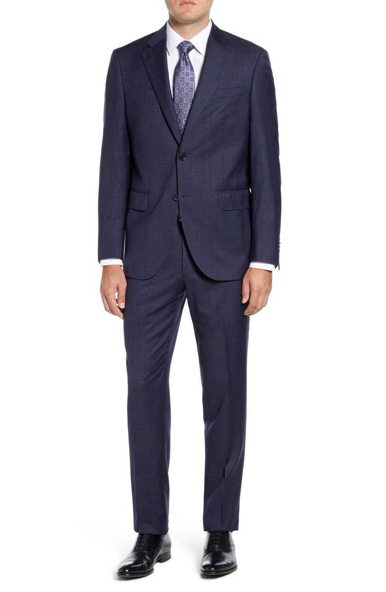 PETER MILLAR Flynn Classic Fit Windowpane Wool Suit, Main, color, NAVY