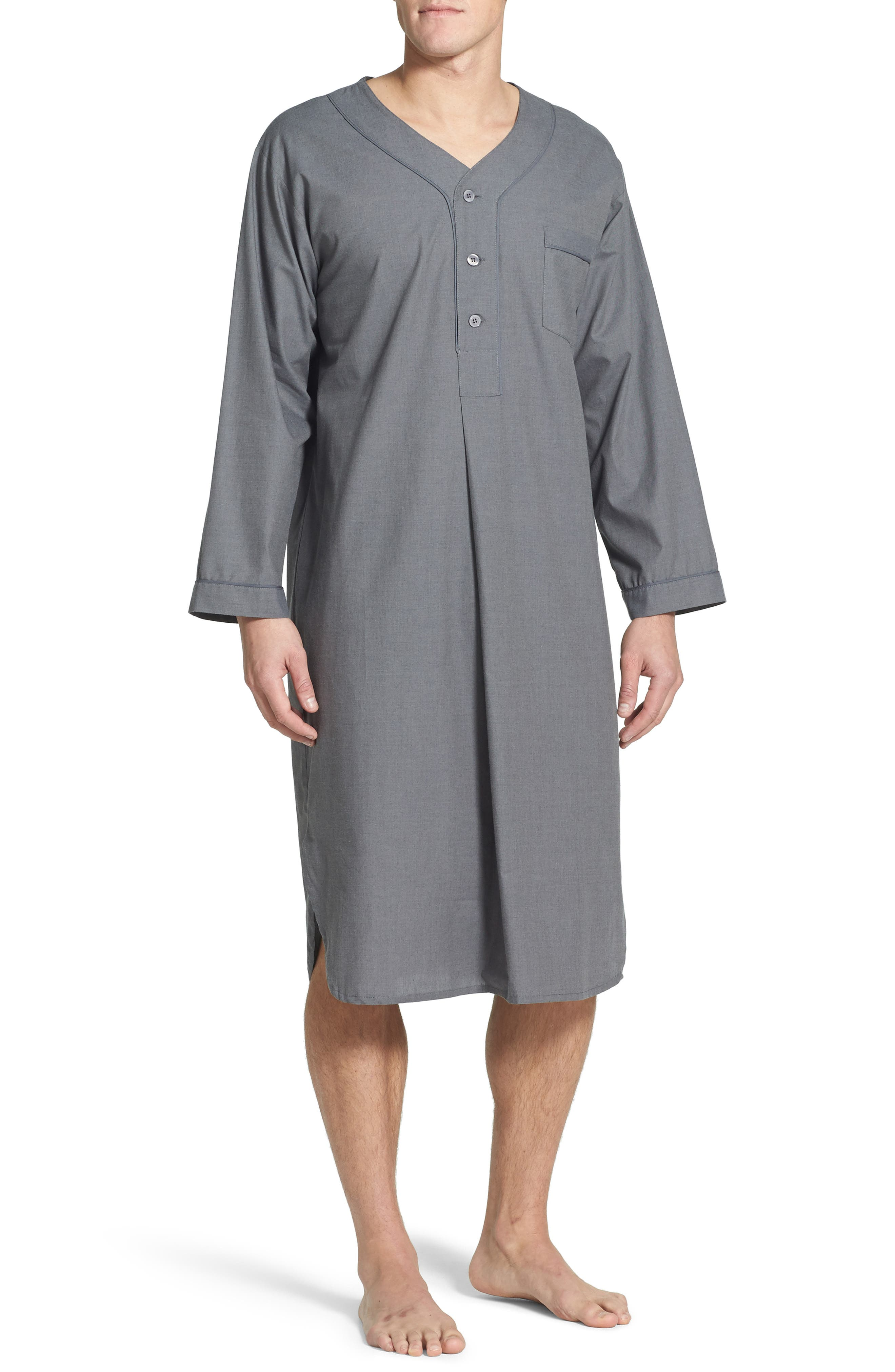 1920s Men's Clothing Mens Majestic International Cotton Nightshirt Size SmallMedium - Grey $60.00 AT vintagedancer.com