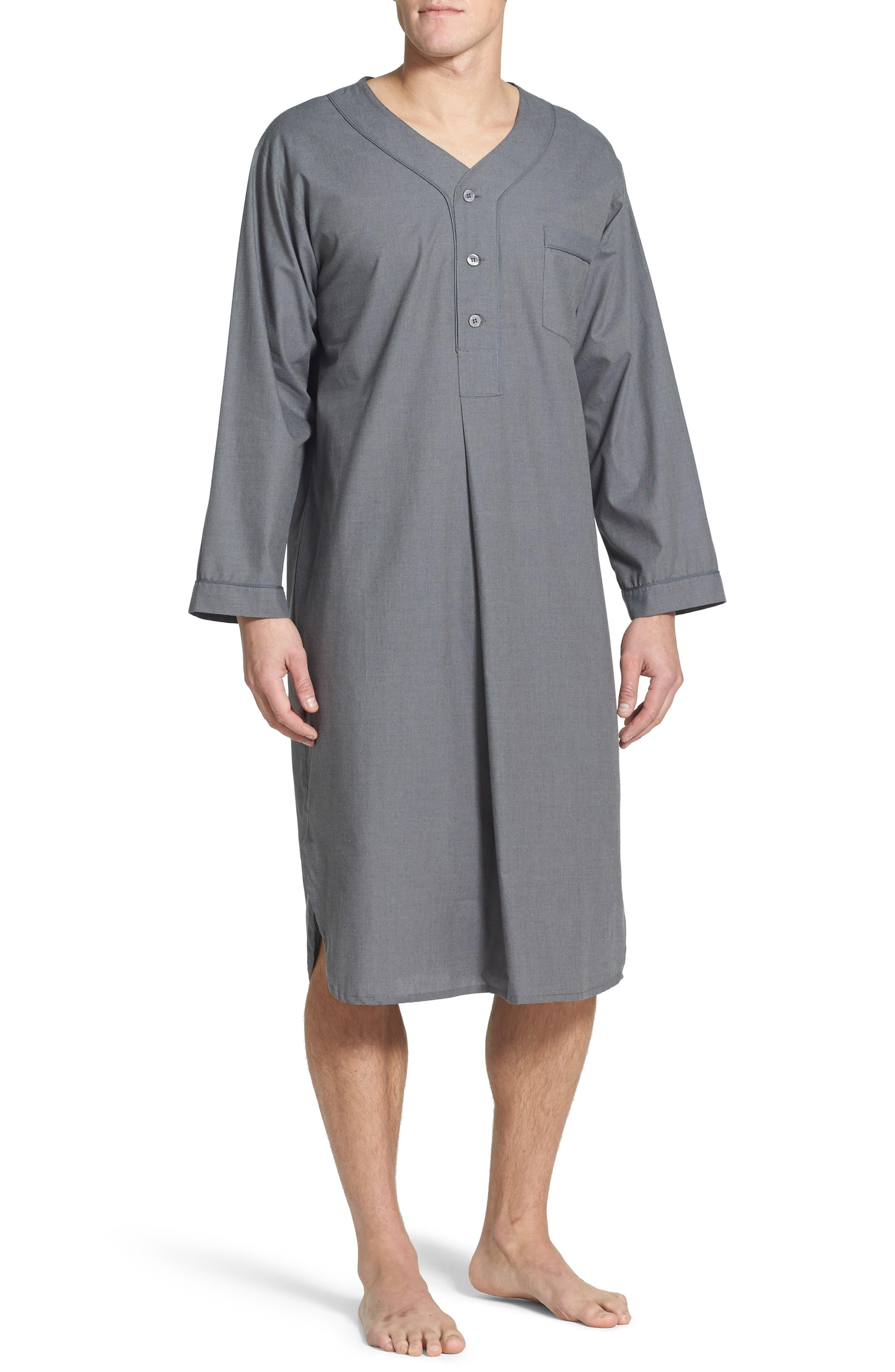 1940s Men's Underwear: Briefs, Boxers, Unions, & Socks Mens Majestic International Cotton Nightshirt Size SmallMedium - Grey $60.00 AT vintagedancer.com