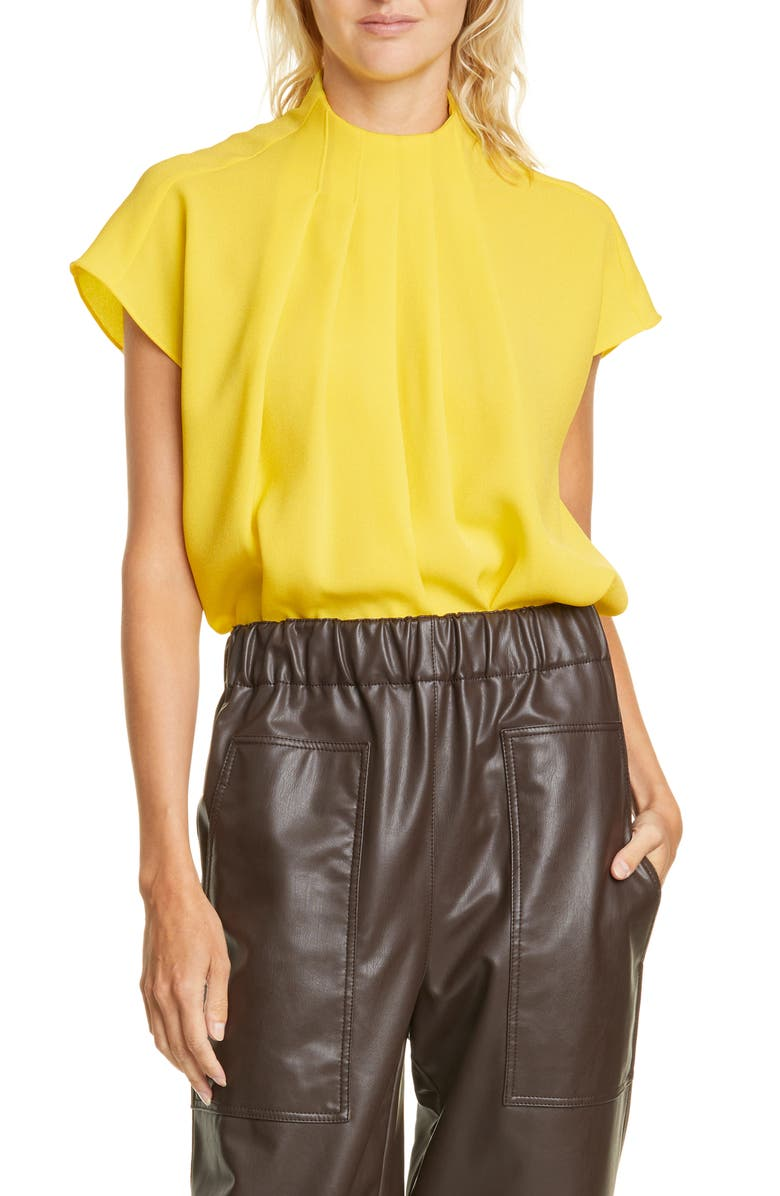 TIBI Esme Pleated Crepe Top, Main, color, LIME YELLOW