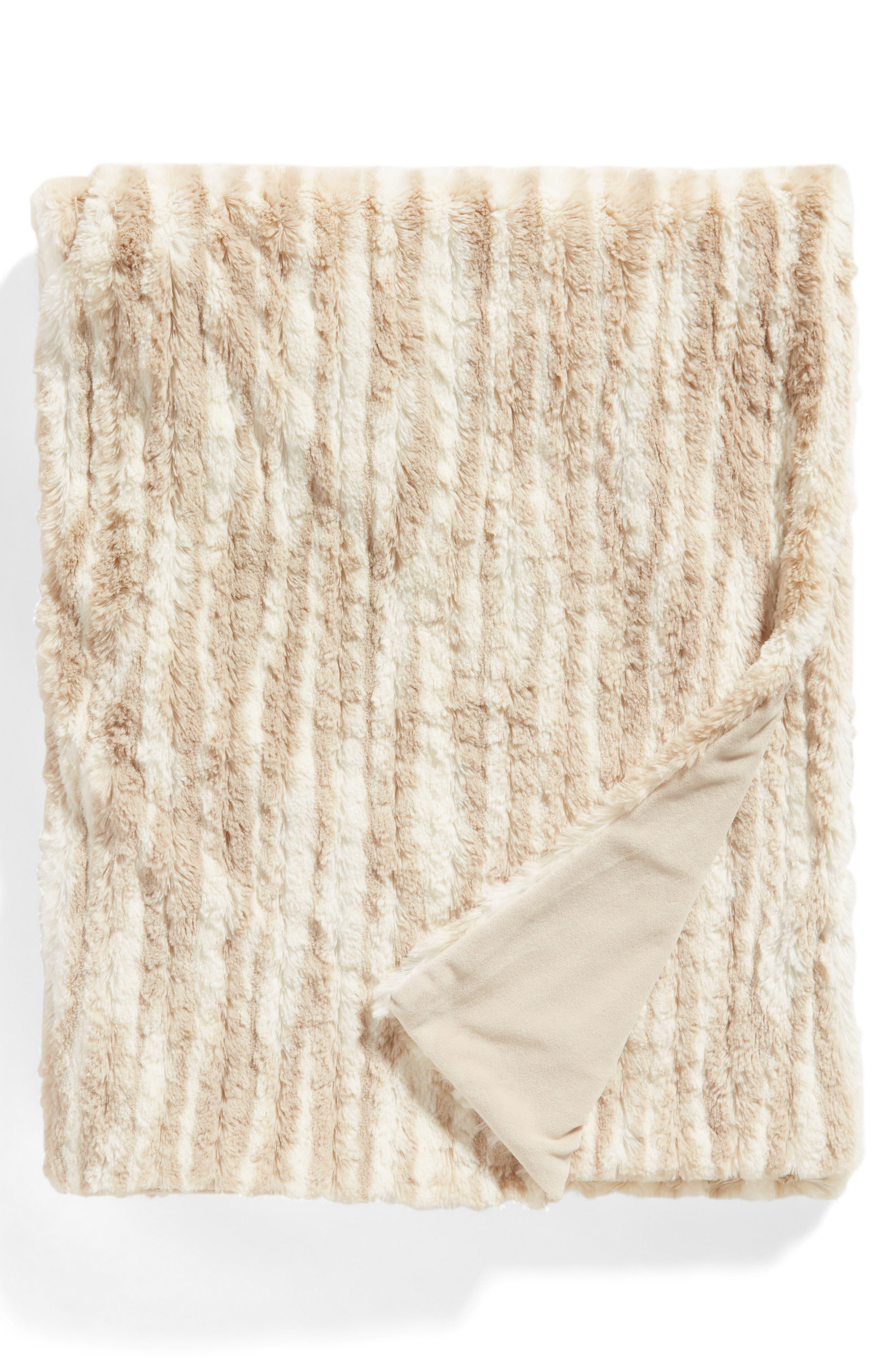 ,                             Soft Ribbed Plush Throw,                             Main thumbnail 1, color,                             BEIGE OATMEAL PRINT