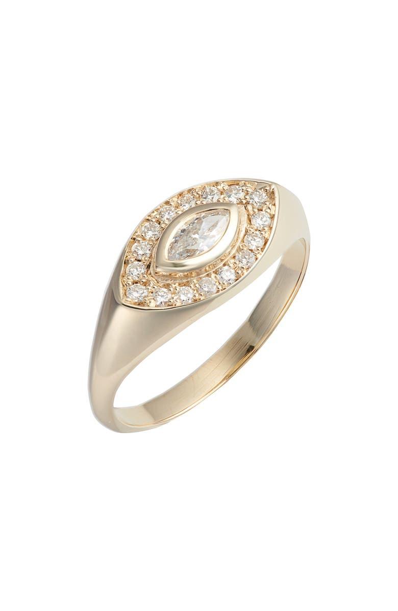 ZOË CHICCO Marquis Diamond Signet Ring, Main, color, GOLD/ DIAMOND