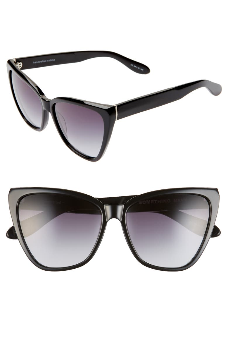 SOMETHING NAVY 56mm Gradient Cat Eye Sunglasses, Main, color, BLACK