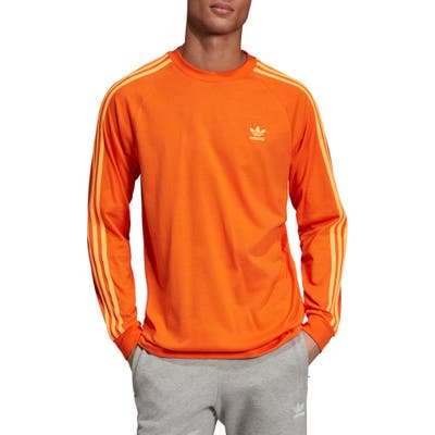Adidas Originals 3-Stripes Long Sleve T-Shirt, Orange