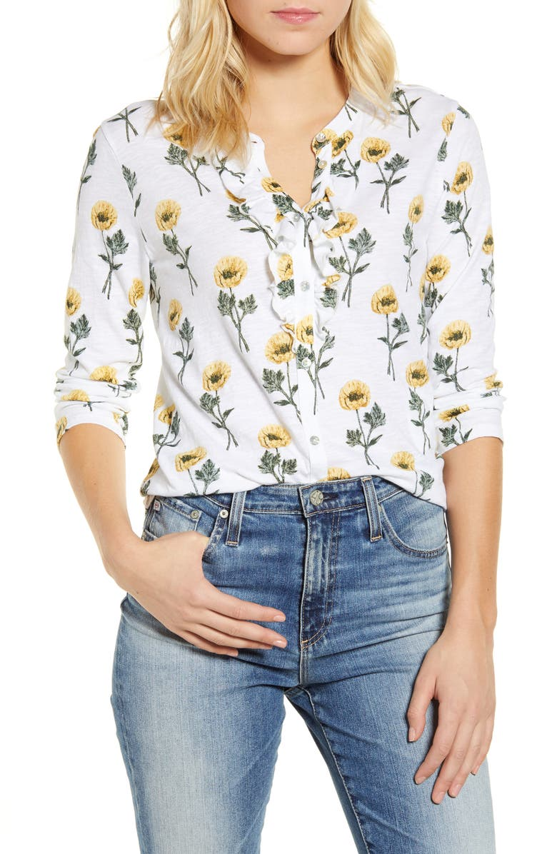 LUCKY BRAND Floral Ruffle Button Up Cotton Knit Shirt, Main, color, 750